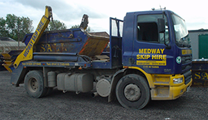 image of a blue medway skip lorry